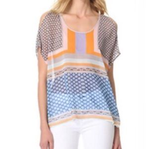 CLOVER CANYON Scarf Print Boat Neck Tunic Top